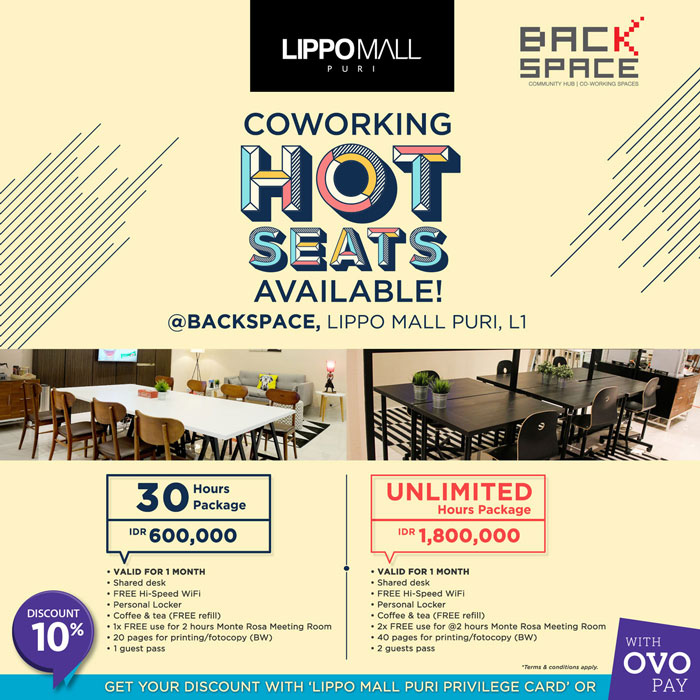 coworking hot seats with ovo in lippo mall puri st. moritz